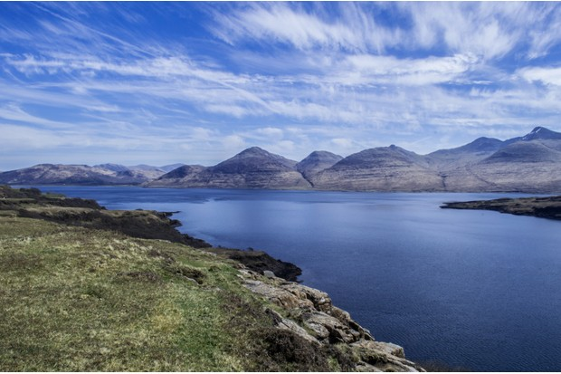 Kilninian, Isle of Mull, West Highlands, Scotland. Overlooking Loch Tuath with views of Ben More (the only munro on the Isle of Mull), and the island of Ulva.