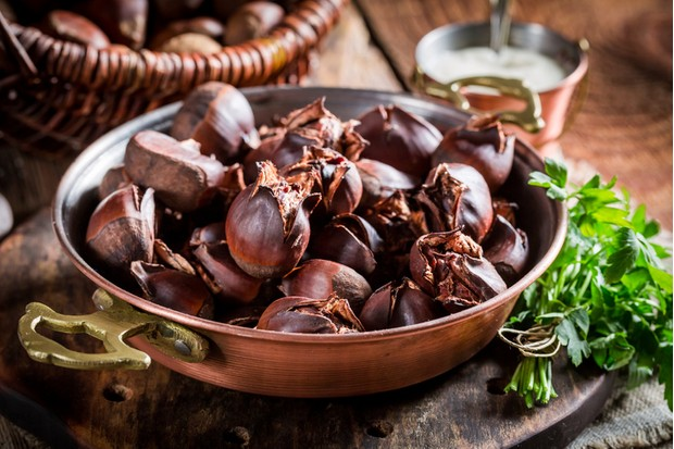 Closeup of homemade chestnuts with parsley