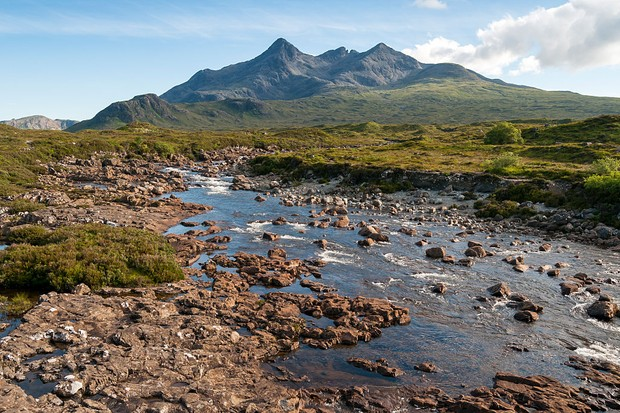 River Sligachan and Sgurr nan Gillean Mountain of Cuillin Range, Isle of Skye, Scotland, United Kingdom. (Photo by: Education Images/UIG via Getty Images)