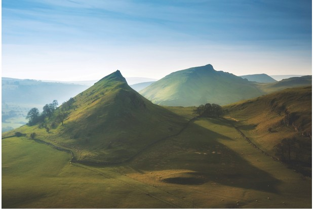 Parkhouse Hill and Chrome Hill in Peak District at sunset, Peak District, England. (Photo by: Loop Images/UIG via Getty Images)