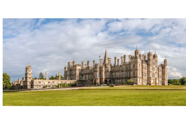 STAMFORD, UNITED KINGDOM - 2009/06/20: Panoramic image of the Burghley House, a grand 16th-century English country house in Lincolnshire, England. (Photo by Olaf Protze/LightRocket via Getty Images)