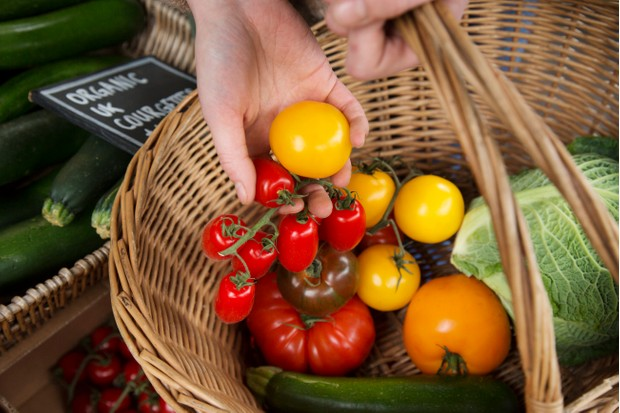 Close up of  female hand placing organic tomatoes in a shopping basket.