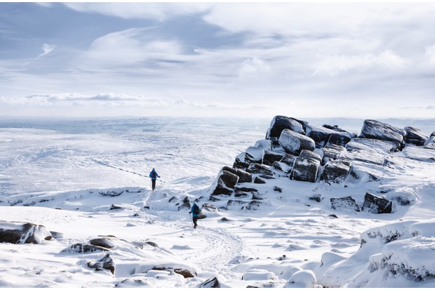 Kinder Scout in snowfall