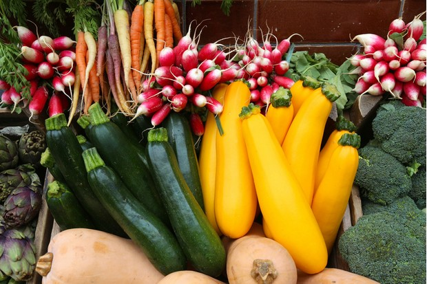 Organic produce - vegetable shop in London, UK.