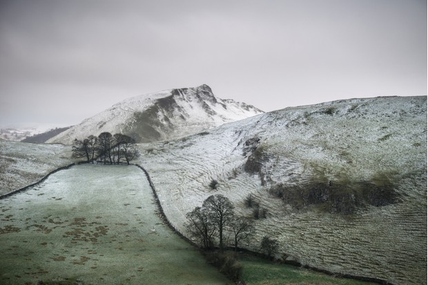 Beautiful Winter landscape image of Chrome Hill and