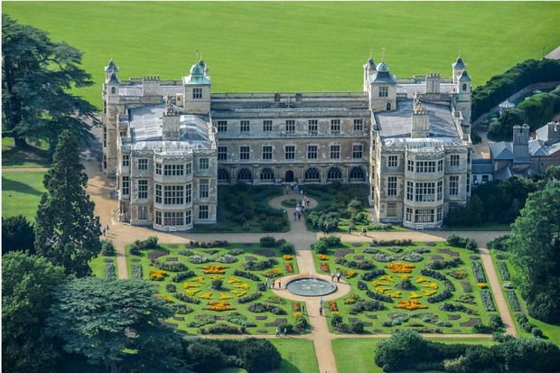 ESSEX, UNITED KINGDOM OCTOBER 03. Aerial photograph of the grade one listed, Audley End House on October 03, 2010.  This 17th century, Jacobean mansion house, is located on the eastern bank of the River Cam, 1 mile west of saffron Walden. (Photograph by David Goddard/Getty Images)