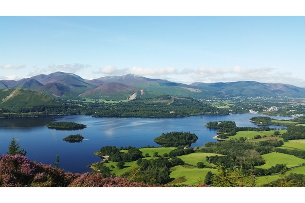 Scenic View Of Derwent Water And Mountains Against Sky