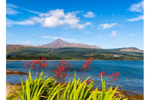 View towards Goatfell, the highest point of the island, Isle of Arran, Firth of Clyde, Scotland, UK