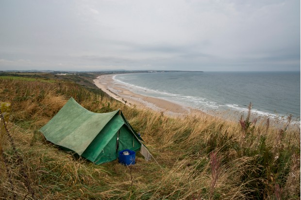 Old style tent with views from Speeton to Filey on the Northeast coast of England.