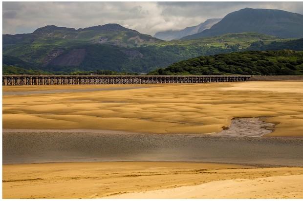 Barmouth Bridge over Mawddach Estuary