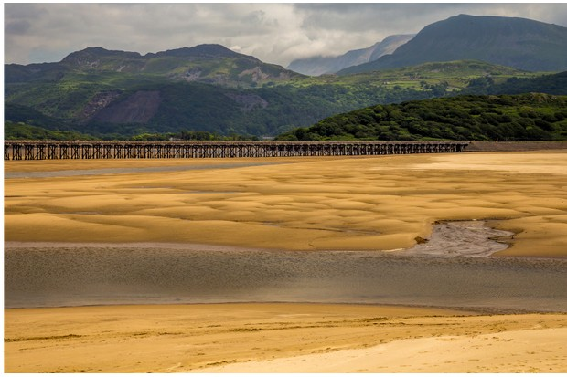 Barmouth Bridge over Mawddach Estuary