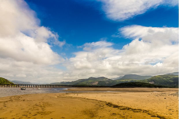 Barmouth, Wales, Located on the west coast of Snowdonia UK. Coast line and beach