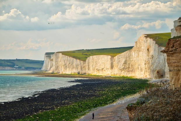 View of Birling Gap and the Seven Sisters as seen from the beach.