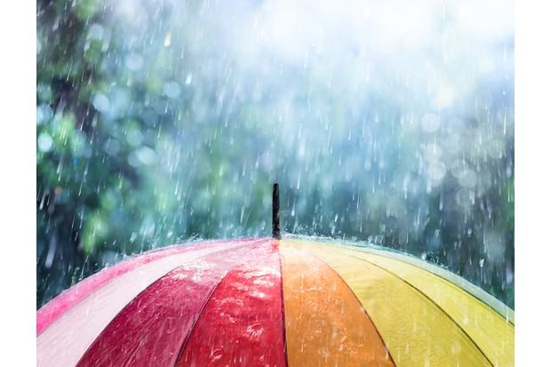 Multi Colored Umbrella With Raindrop Shower