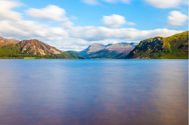 Slow shutter landscape at Ennerdale Water, Cumbria, the Lake District, England in the United Kingdom in Summer