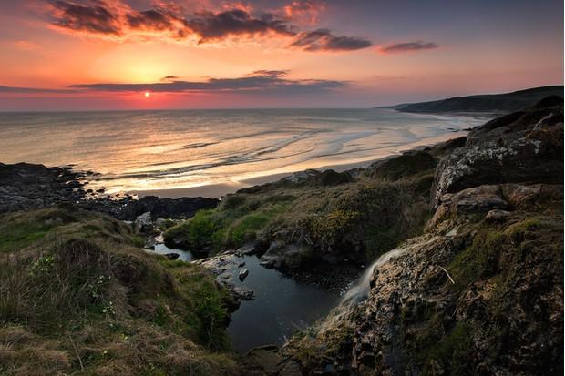A beautiful sunset on Killantringan Bay in SW Scotland