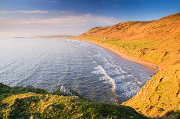 A view of Rhossili Bay, Gower, South Wales in beautiful late sunlight.