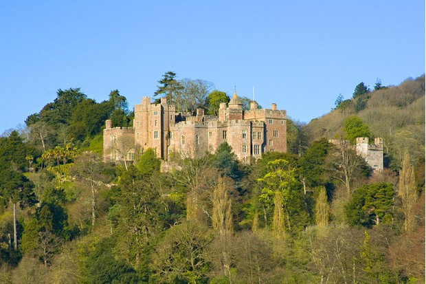 A view looking up towards Dunster Castle in Somerset UK