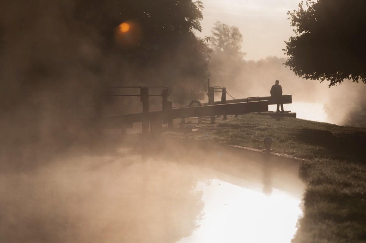 Misty sunrise on the canal