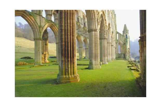Beneath the pillars at Rievaulx Abbey