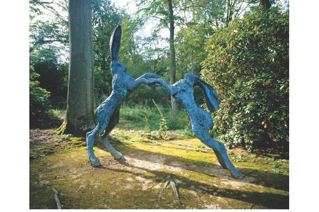 AM7N50 Outdoor garden rabbit sculpture in Hannah Peschar gallery Ockley Surrey England UK