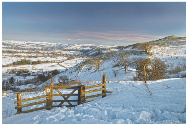 Landscape of Castleton and The Hope Valley in snow, taken at Blue John Cavern in The Peak District National Park, England. Uk