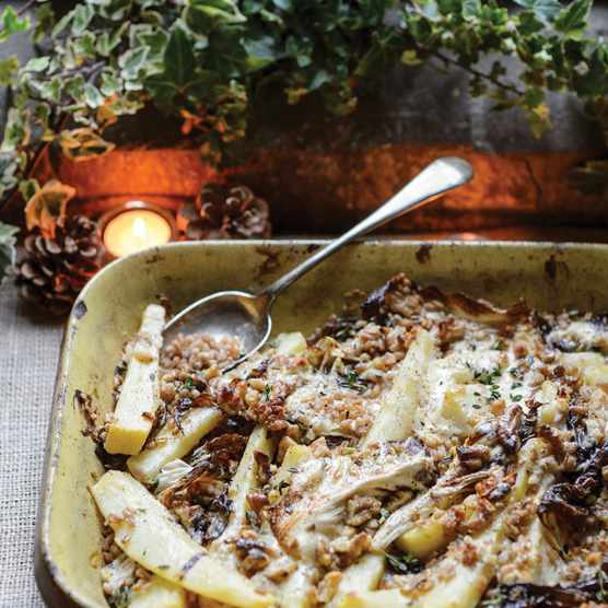 Parsnips baked with pearled spelt, crème fraîche and walnuts (Photo by: Jason Ingram)