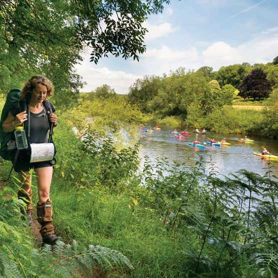 Kate Humble walking along the River Wye