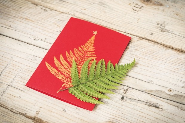 Christmas Crafts Make Your Own Leaf Print Festive Card
