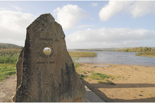 CEMYJR Imagine an Island - sandstone sculpture by Louise Walsh at Lough MacNean Upper, near Blacklion, Ireland. Editorial use only.. Image shot 2011. Exact date unknown.