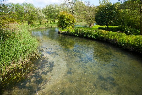 Clear water of meandering River Kennet chalk stream at Axford, Wiltshire, England. (Photo By: Geography Photos/UIG via Getty Images)