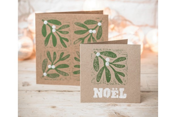 christmas crafts make your own mistletoe and holly block print cards - Make Your Own Card