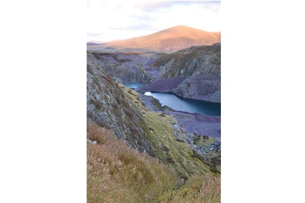 A huge slate mine is set beneath Moel Tryfan