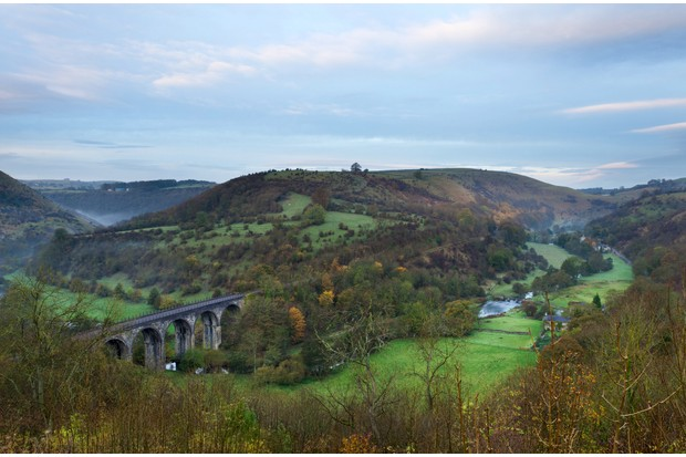Monsal Dale in the Peak District on a misty autumn morning.