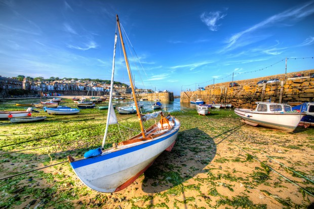 Mousehole harbour, on the coast path to St Michael's Mount