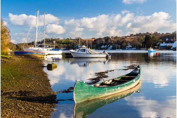 Canoe at the picturesque village of Mylor Bridge Cornwall England UK Europe