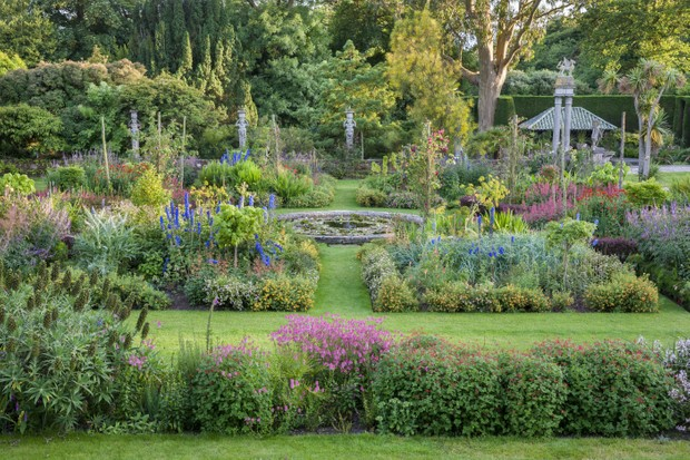 The formal garden seen from the terrace at Mount Stewart, County Down. Mount Stewart has been voted one of the world's top ten gardens, and reflects the design and artistry of its creator, Edith, Lady Londonderry.
