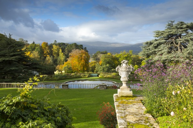 View of the Lily Terrace and pool at Bodnant Garden, Conwy.