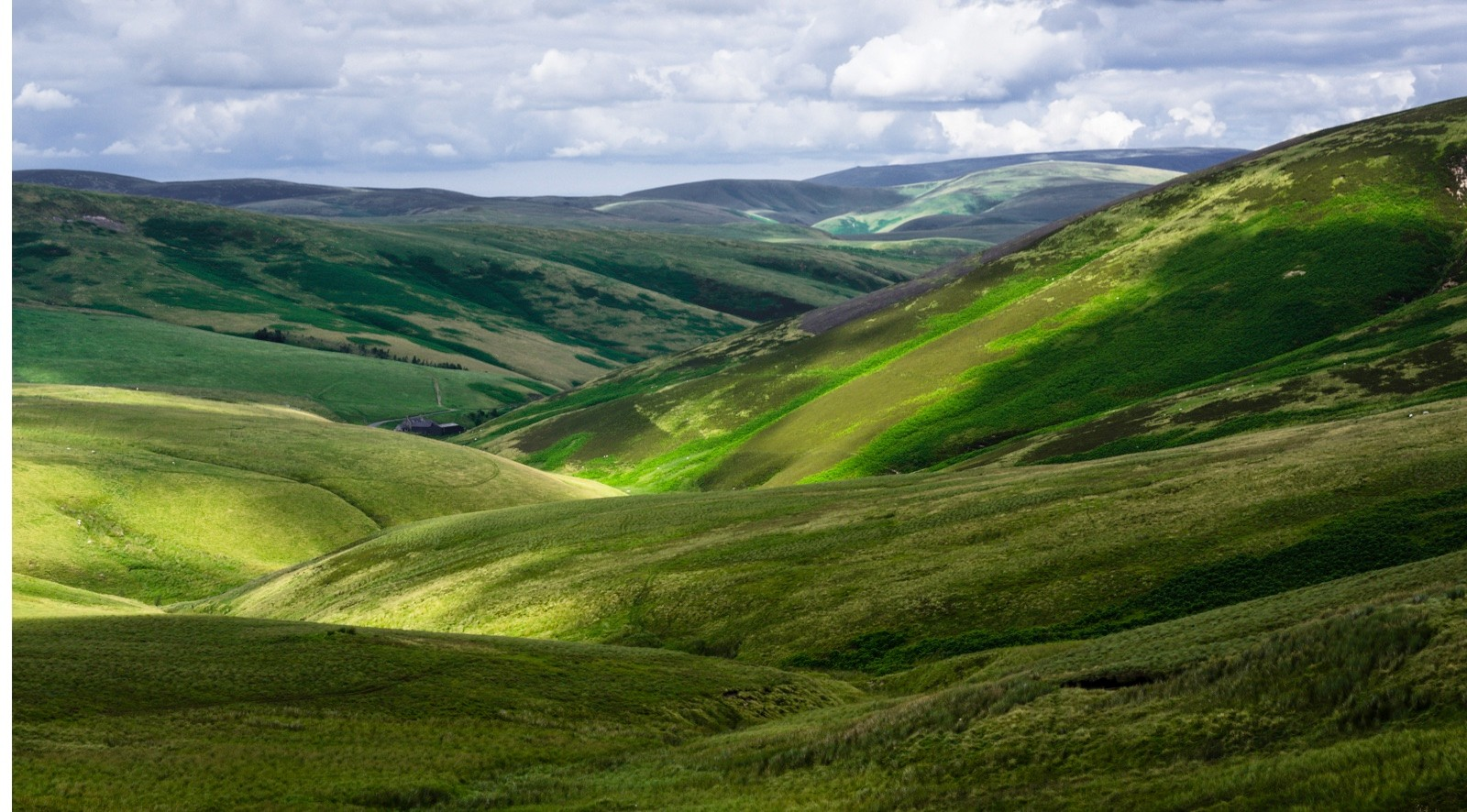 Picturesque view over the Otterburn Ranges, a military range in Northumberland on the border with Scotland