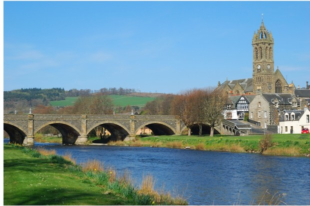 town bridge over riverTweed at Peebles