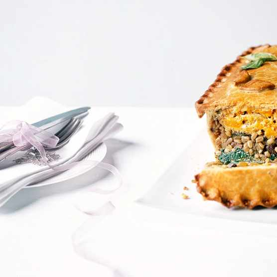 Layered squash, spinach and barley pie (Photo by: Phillip Webb via BBC Good Food)