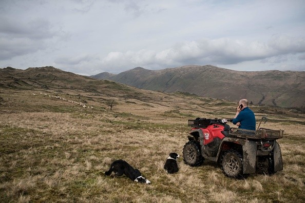 Farmer Pip Simpson chats on his mobile phone as he travels on a quad-bike to check on his flock of sheep on his farm on Wansfell hill, above Troutbeck village in the Lake District National Park, near the town of Ambleside, northern England on April 18, 2018. (Photo by OLI SCARFF / AFP)        (Photo credit should read OLI SCARFF/AFP/Getty Images)