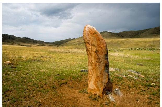 MONGOLIA - 2012/06/27: Deer Stone with petroglyphs in Hustai National Park, Mongolia. (Photo by Wolfgang Kaehler/LightRocket via Getty Images)