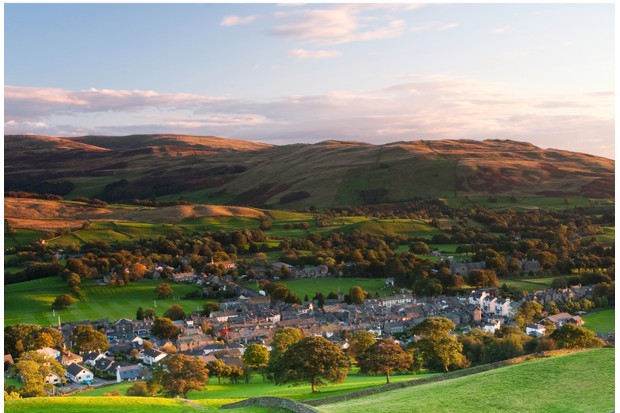 Sedbergh sits beneath the Howgill Fells in the Yorkshire Dales