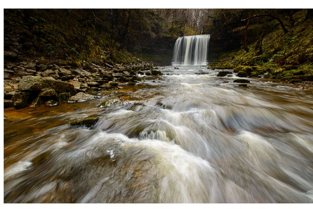 Rocks in front of the Sgwd yr Eira waterfall, Brecon Beacons, Wales