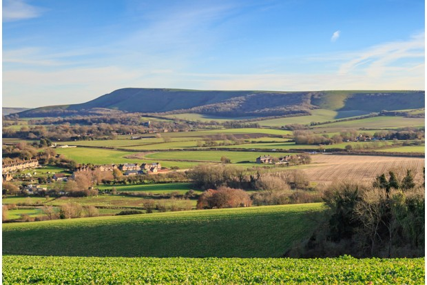 Looking towards Firle Beacon from nearby Glynde in Sussex