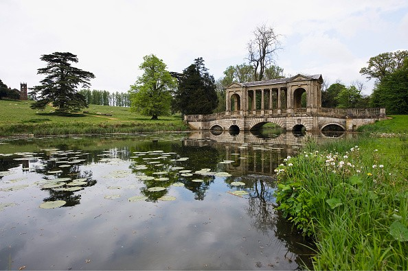 The Palladian Bridge in the landscaped garden of Stowe House. About 2000. (Photo by Imagno/Getty Images) .