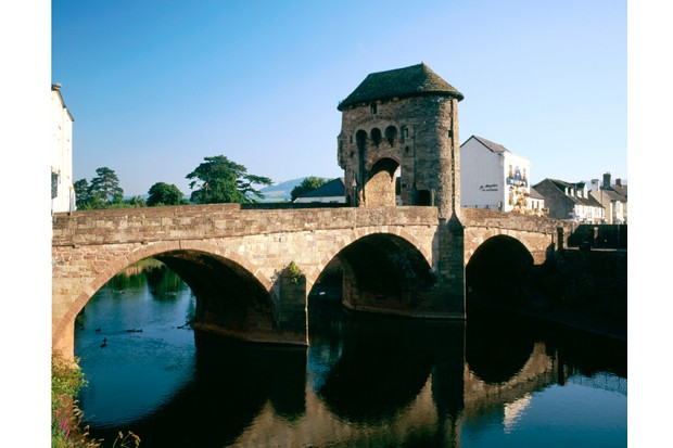 Monnow bridge, Monmouth, Monmouthshire, South Wales.