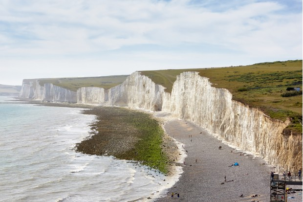 Birling Gap and the Seven Sisters, East Sussex. Stretching between Birling Gap and Cuckmere Haven are the world-famous Seven Sisters chalk cliffs.