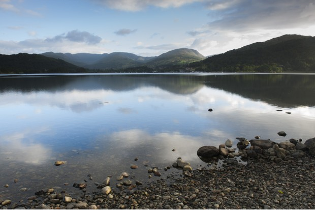 A view across Lake Windermere towards fells in the Lake District, Cumbria.